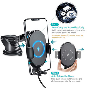 Image 5 - Qi Car Wireless Charger Mount For iPhone 11 XS XR X 8 Xiaomi Samsung Galaxy S10 S9 Auto Clamping 10W Fast Charging Phone Holder