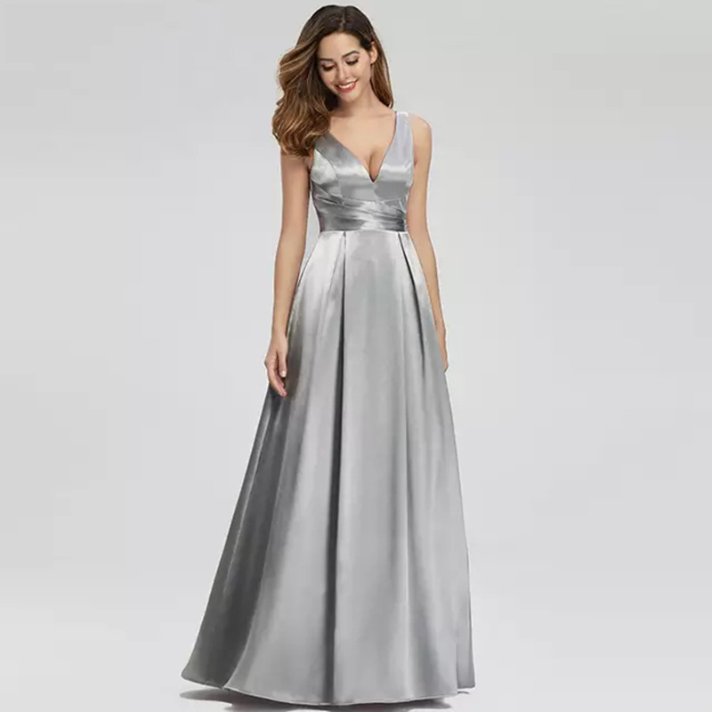 New Evening Gown Dress Long Satin Slim Formal Fashion Sleeveless Women Prom Dresses For Vestido And Wedding Guest Party Cazdzy