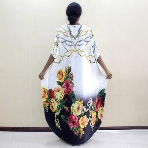 Image 2 - 2019 nowości Fashion Design Dashikiage kwiaty i biżuteria wzór wydruku czarny krótki rękaw Plus rozmiar sukienki dla kobiet