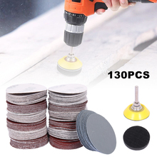 130pcs 60/80/120/180/240/400/600/800/1000 Grits Sanding Disc Set 2in Loop Sanding Pad For Polishing Cleaning Tools