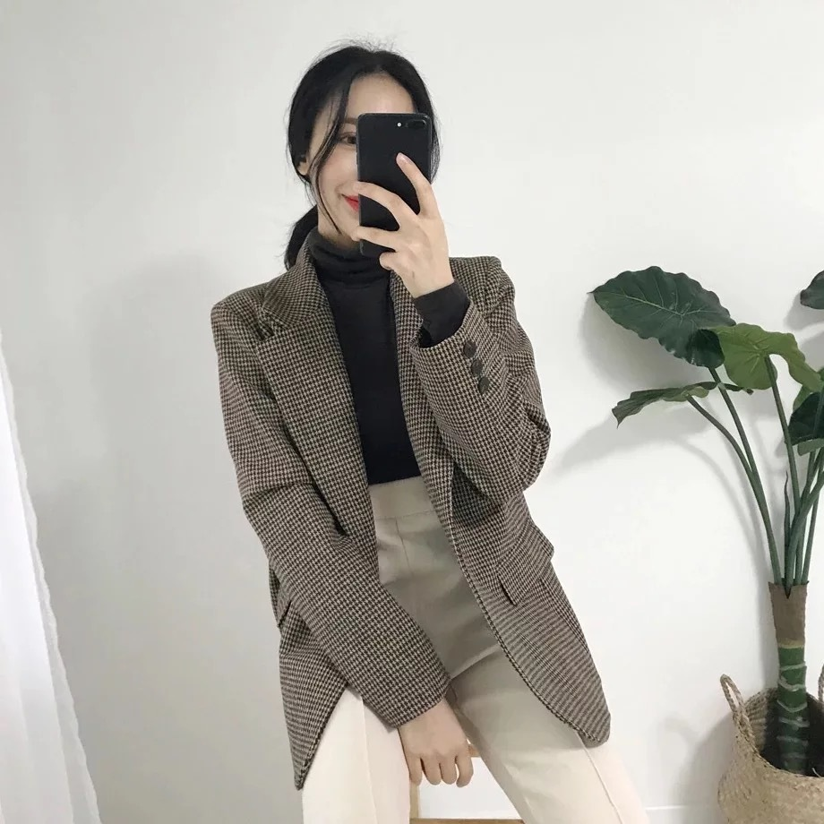2020 New Chic Plaid Vintage Loose Fit Blazer Jacket Female England Single Breasted Office Lady Coat Autumn Winter Outerwear