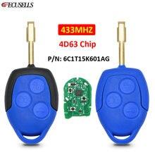 Умный ключ для автомобиля Ford Transit WM VM 433-2006, 3 кнопки, дистанционный ключ 2014 МГц 4D63, чип FO21, необработанное лезвие P/N: 6C1T15K601AG, синий/черный