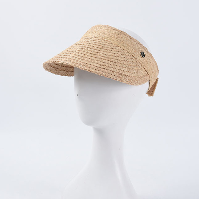 New Foldable Vacation Visor Caps For Women Raffia Empty Top Sun Hat Summer UV Beach Hats Velcro Adjustable Head Circumference