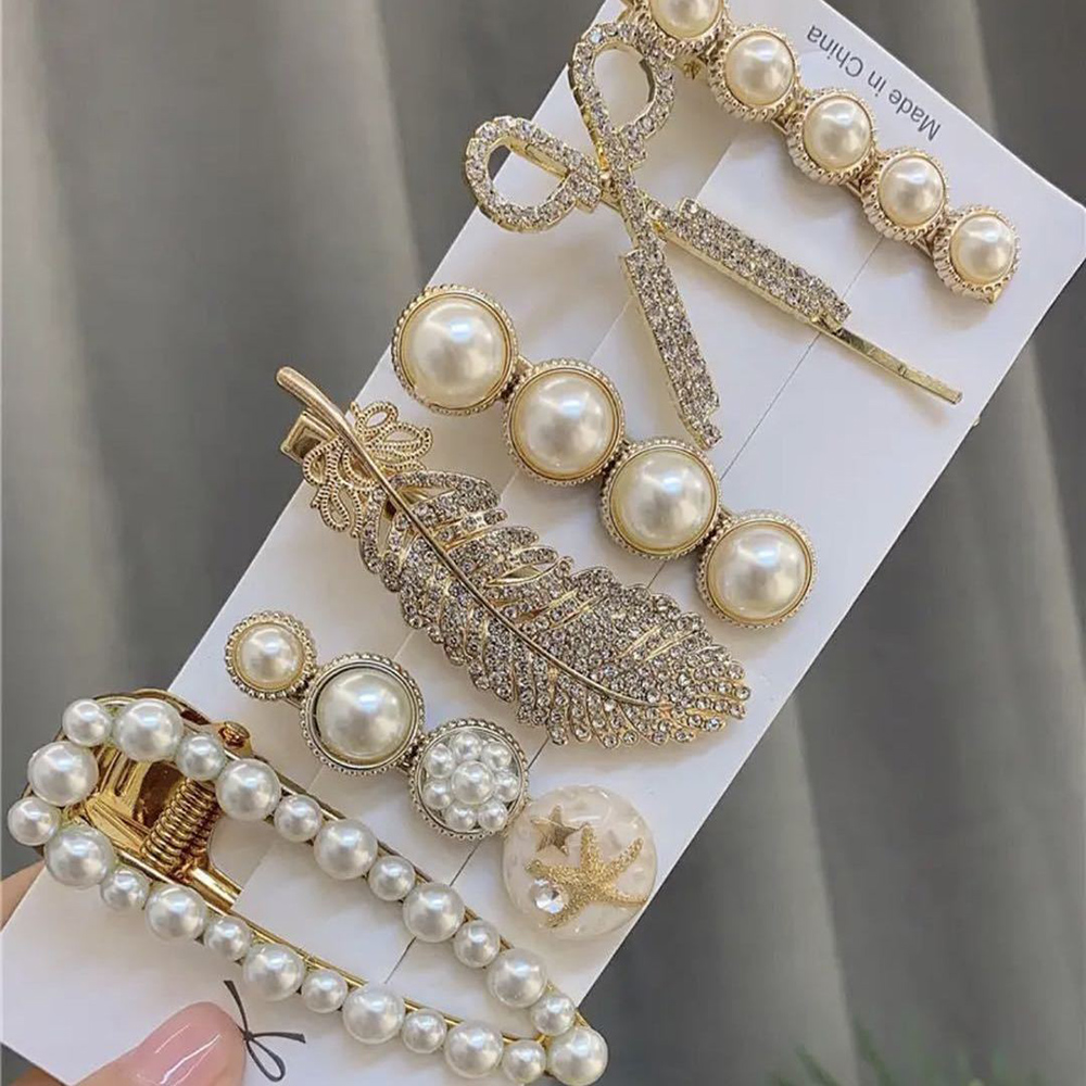 Fashion 1Set Woman Pearl Hairpins Alloy Barrettes Geometric Gold Hair Clip Sweet Headwear Barrettes Headband Rhinestone