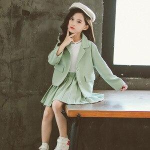 Image 3 - Meisjes Kleding Plooirok & Jas Meisjes Kleding Effen Bovenkleding Pak Voor Meisjes School Uniform Mode Kid Winter Kleding