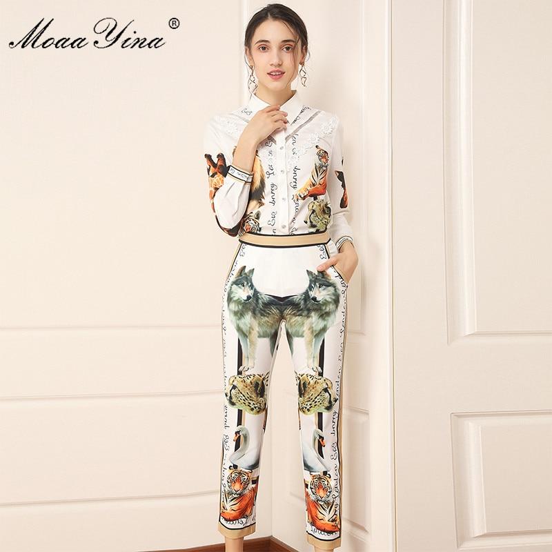 MoaaYina Fashion Designer Set Spring Autumn Women Long Sleeve Letter Animal Print Shirt Tops+3/4 Pants Two-piece Set