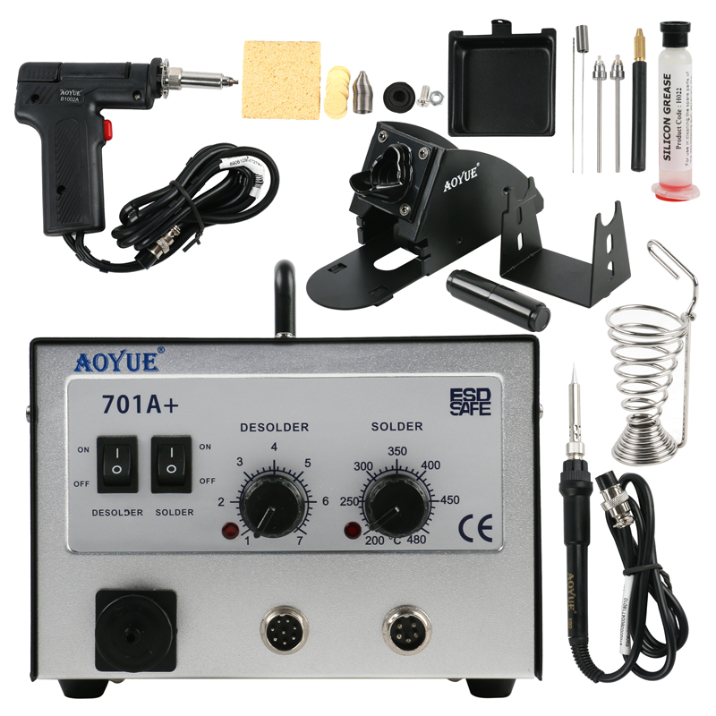 <font><b>Aoyue</b></font> <font><b>701A</b></font>+ Thermostat suction tin gun Repairing System Repair Rrework Station, Available in 110V / 220V image