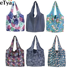 eTya Foldable Recycle Shopping Bag Women Travel Shoulder Grocery Bags Eco Reusable Floral Fruit Vegetable Storage Tote Handbag недорого