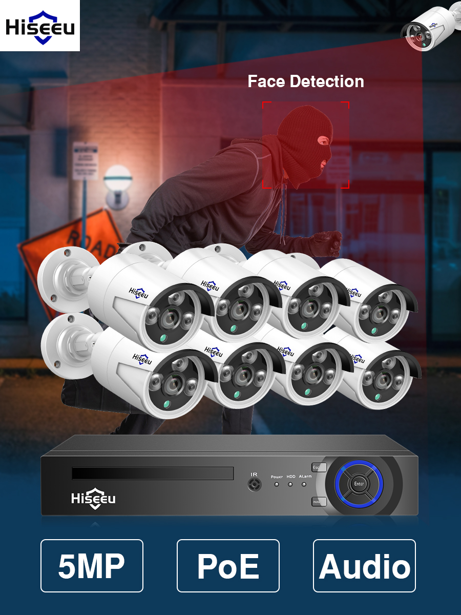 System-Kit Nvr-Set Audio-Record Ip-Camera Hiseeu Ai-Face Cctv-Video Surveillance H.265