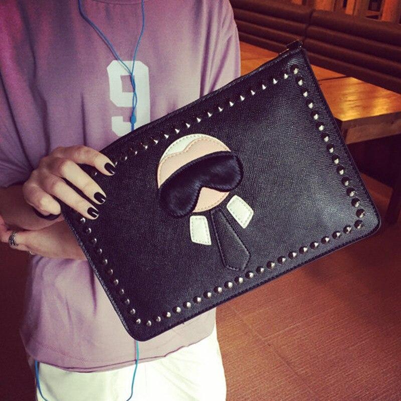 Women's Brand Rivet Day Clutch Bags Waterproof PU Leather Messenger Bags Vintage Small Shoulder Bag Envelope Ladies Hand Bags