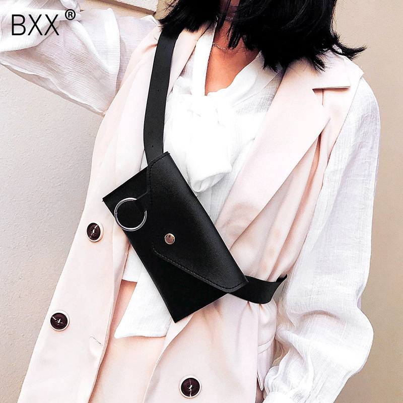 [BXX] Women's Single Shoulder Crossbody Bag All-match Waist Chest Package 2020 Personality PU Leather Belt Envelope Bag HI250
