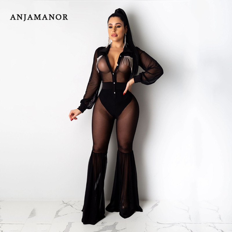 ANJAMANOR Sexy Black Sheer Jumpsuit Women One Piece Club Outfit Crystal Tassel Mesh See Through Flare Pants Jumpsuits D57-AG40