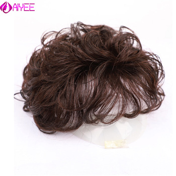 AliExpress - AIYEE 100%Human Wave Hair Toupee Hair Curly Toupee For Women Natural  Replacement Topper Hairpiece Clip in Hair Extensions