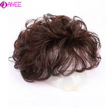 Aiyee 100% 人間のかつらの毛のかつら女性のためのナチュラル交換トッパーかつらクリップで毛延長