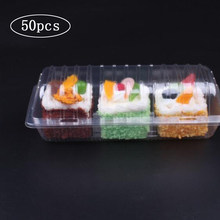 50 pces descartáveis caixa de bolo de rolo suíço claro caixas de padaria e embalagem sushi tirar caixa retângulo frutas pão embalagem recipiente