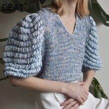Short Sweater Fashion Women Tops Tassels-Puff-Sleeve V-Neck Loose New DEAT Half WL75305L