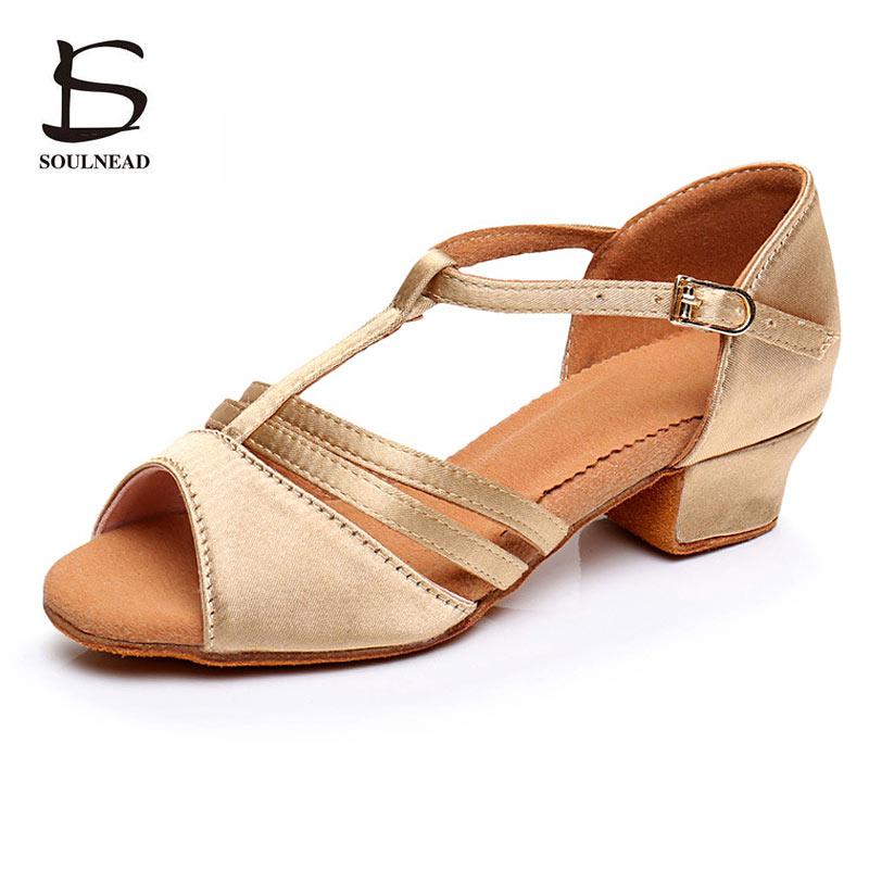 New Kids Girls Dance Shoes Latin Salsa Tango Dance Shoes for Children Women Soft Ballroom Dancing Shoes Sneakers Low Heels 3.5cm