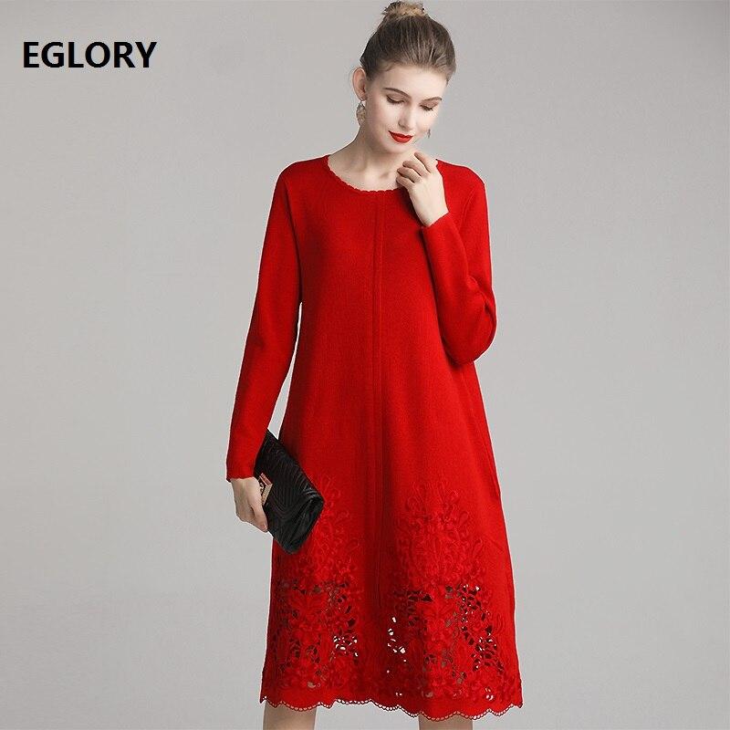Top qualité nouveau 2019 automne hiver laine robe tricotée femmes évider broderie à manches longues mi-mollet vert rouge robe de place