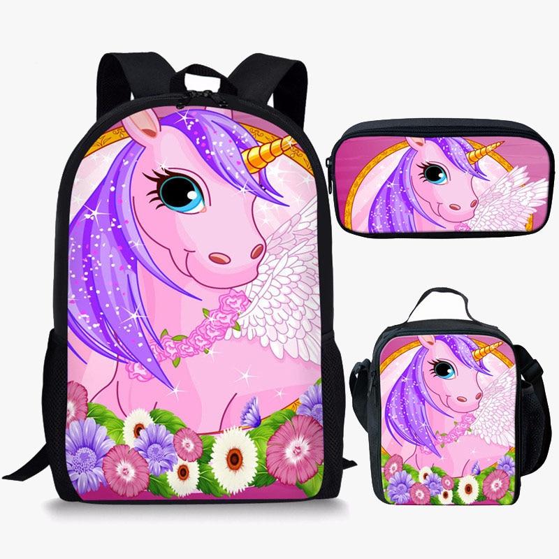 Anime Unicorn 3D Print School Backpack for Girl Boys Children Cartoon Bookbags Kids Primary Schoolbag Children Knapsack