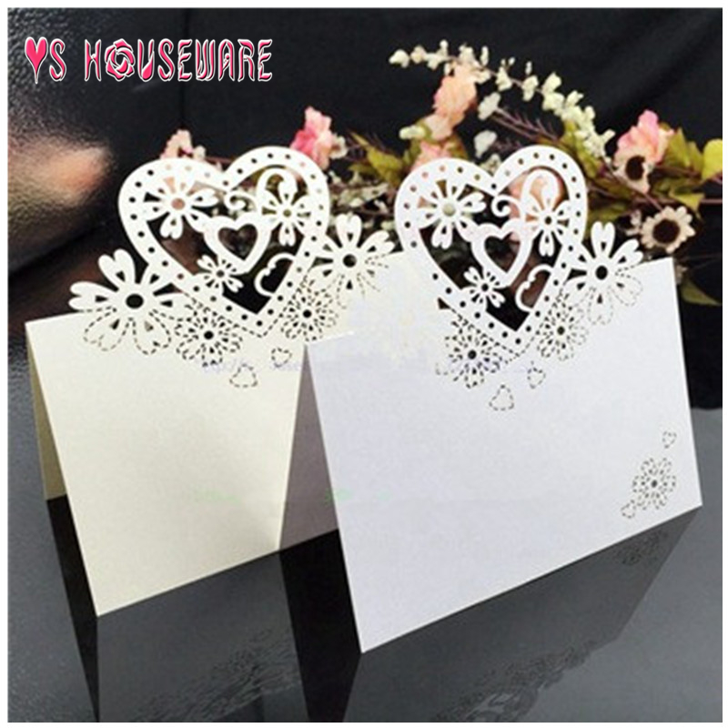 Cute Cut Party Wedding Decoration Cards Guest Table Love Heart Name Number Place