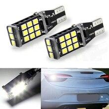 2x T15 921 W16W 21 SMD 2835 LED otomatik ek lamba CANBUS hiçbir hata ters araba ışıkları gündüz koşu işık beyaz DC 12V