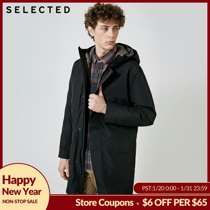 SELECTED Men's Winter Down Jacket New Waterproof Cap Removable Two-piece Down Coat Suit Long Warm Clothes S | 418412587