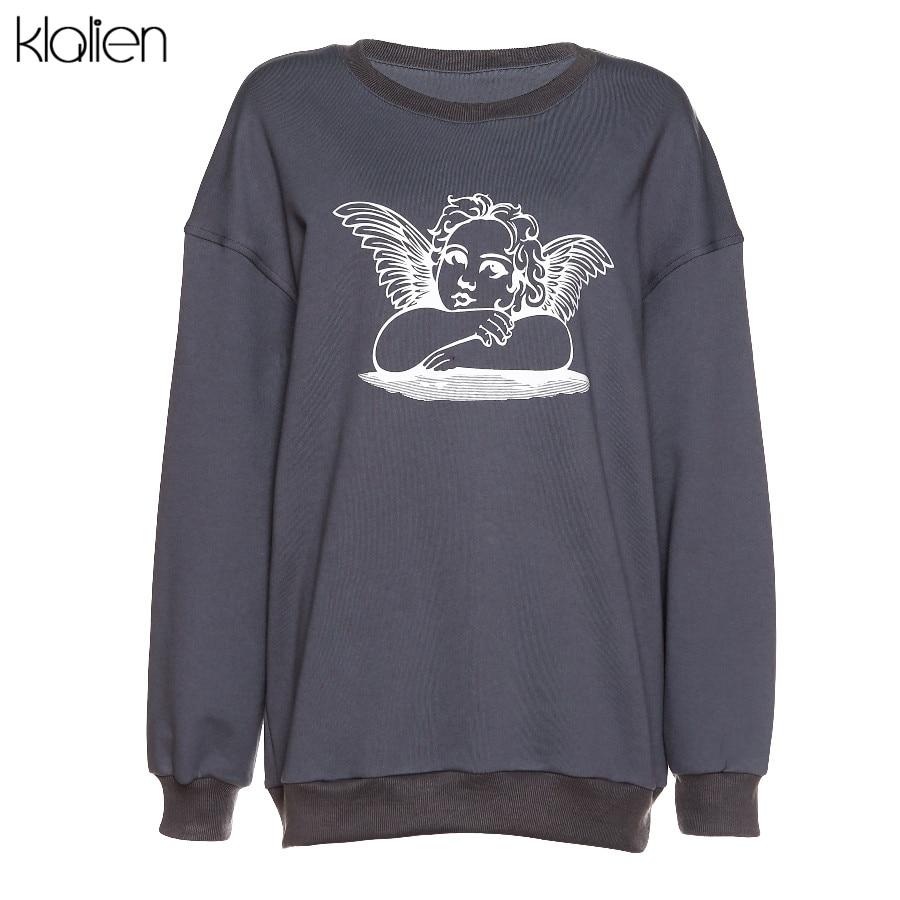 KLALIEN Hoodies Sweatshirts Oversize Long-Sleeve Angle-Print Fashion Women Streetwear