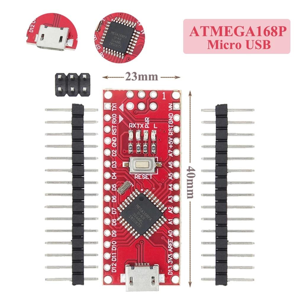 Nano Micro USB с Загрузчиком Nano v3.0 ATMEGA168P, Nano Micro USB с Загрузчиком, совместимый контроллер Nano V3 Red для arduino CH340, USB драйвер 16 МГц