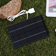 USB פנל סולארי חיצוני 5W 5V נייד שמש מטען חלונית טיפוס מהיר מטען פוליסיליקון נסיעות DIY מטען סולארי גנרטור
