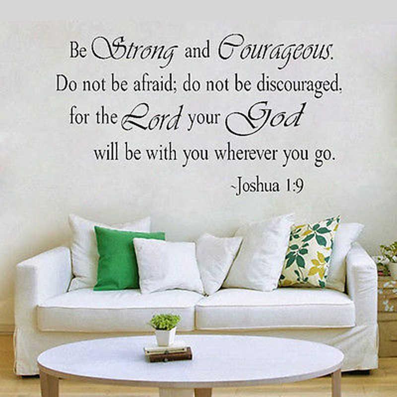 Bądź silny i odważny JOSHUA 1:9 cytat sztuka religijna zdejmowana naklejka na ścianę