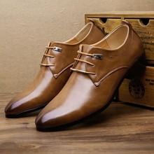 JAYCOSIN, новые мужские кожаные туфли мужские деловые туфли классические стильные туфли на плоской подошве, коричневые, черные мужские туфли-оксфорды на шнуровке с острым носком