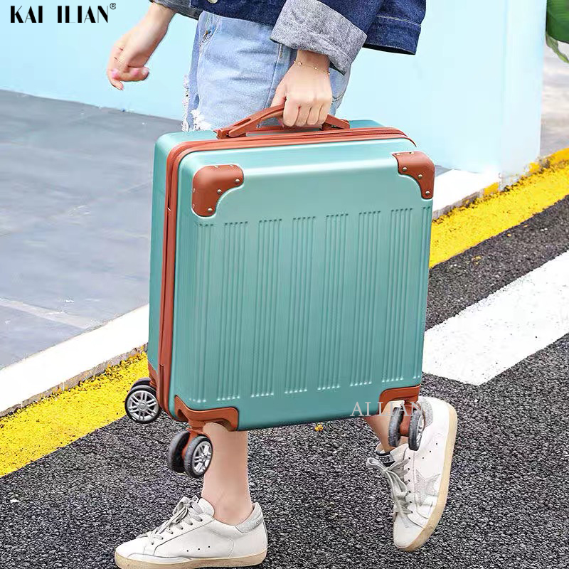18 Inch Travel Luggage Carry On Suitcase With Wheels Cabin Trolley Bag Rolling Luggage Student Kids Suitcase For Girls Women Bag