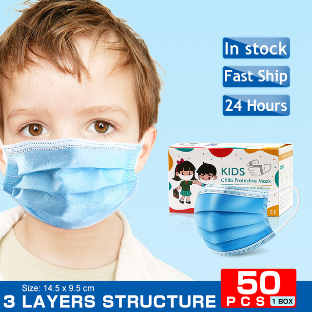New 1/50PCS kids/adult Face Mask Disposable Tapabocas Dust Mask Hygiene Face Mask Ear Loop Non Woven Protective Safety Mask 1