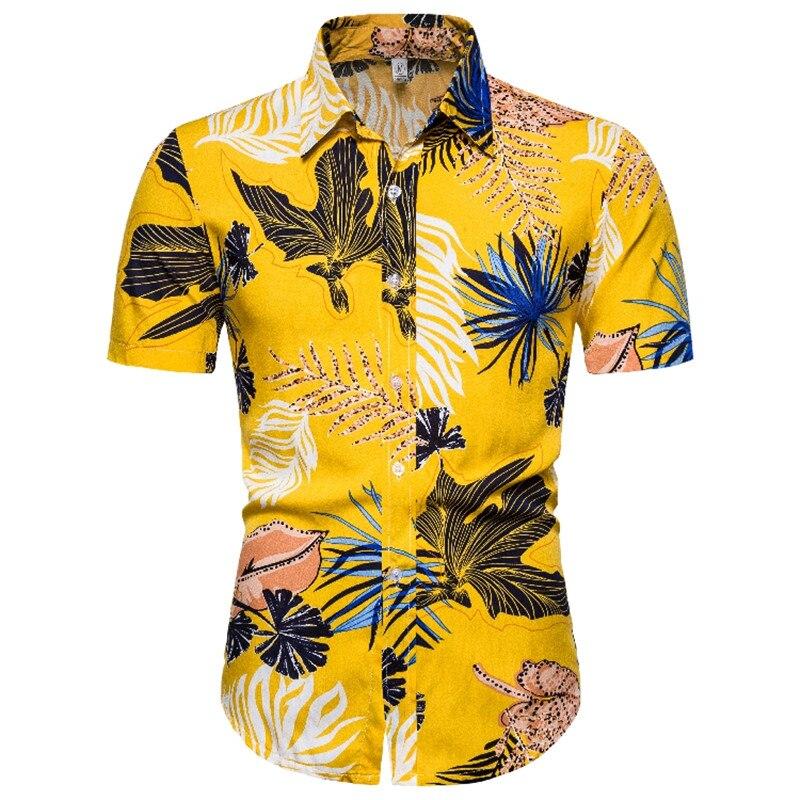 Men's Turn-down Collar Tropical Hawaiian Shirt Hipster Floral Printed Shirt Men Party Holiday Vacation Beach Shirts Male Chemise