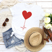 Women Graphic Love Shape Valentine 90s Cute Fashion Short Sl