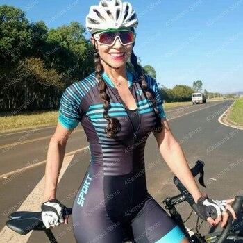 Camisa de triatlo conjunto feminino, camisa de manga curta para ciclismo, modelo go pro 9d com almofada em gel, 2020 macacão para mulheres 1