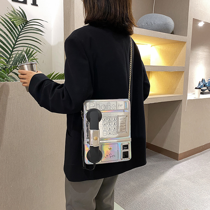 Women's shoulder bag personality laser simulation public phone alphanumeric female bag messenger bag  bags for women