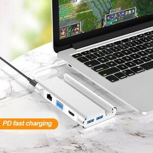 Image 2 - Bevigac 7 في 1 USB 3.0 نوع C Hub 5Gbps عالية السرعة محول oncentrator الخائن ث/4K HDMI ميناء حامل هاتف لماك بوك برو HP