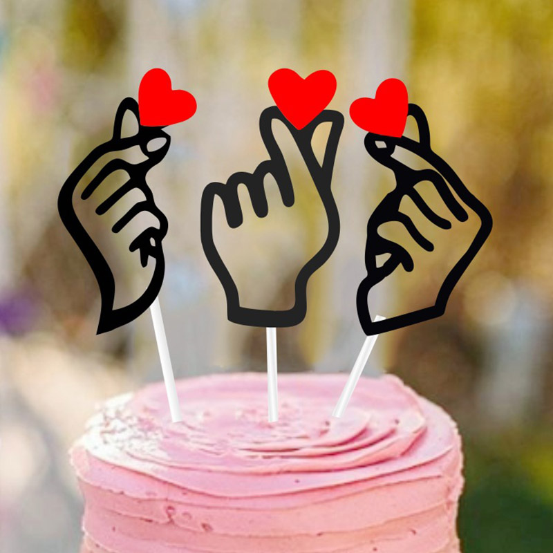 INS Gestures Heart Cake Topper Bling Paper Cupcake Flag For Baby Shower Wedding Decoration Birthday Party Cake Baking Decoration image