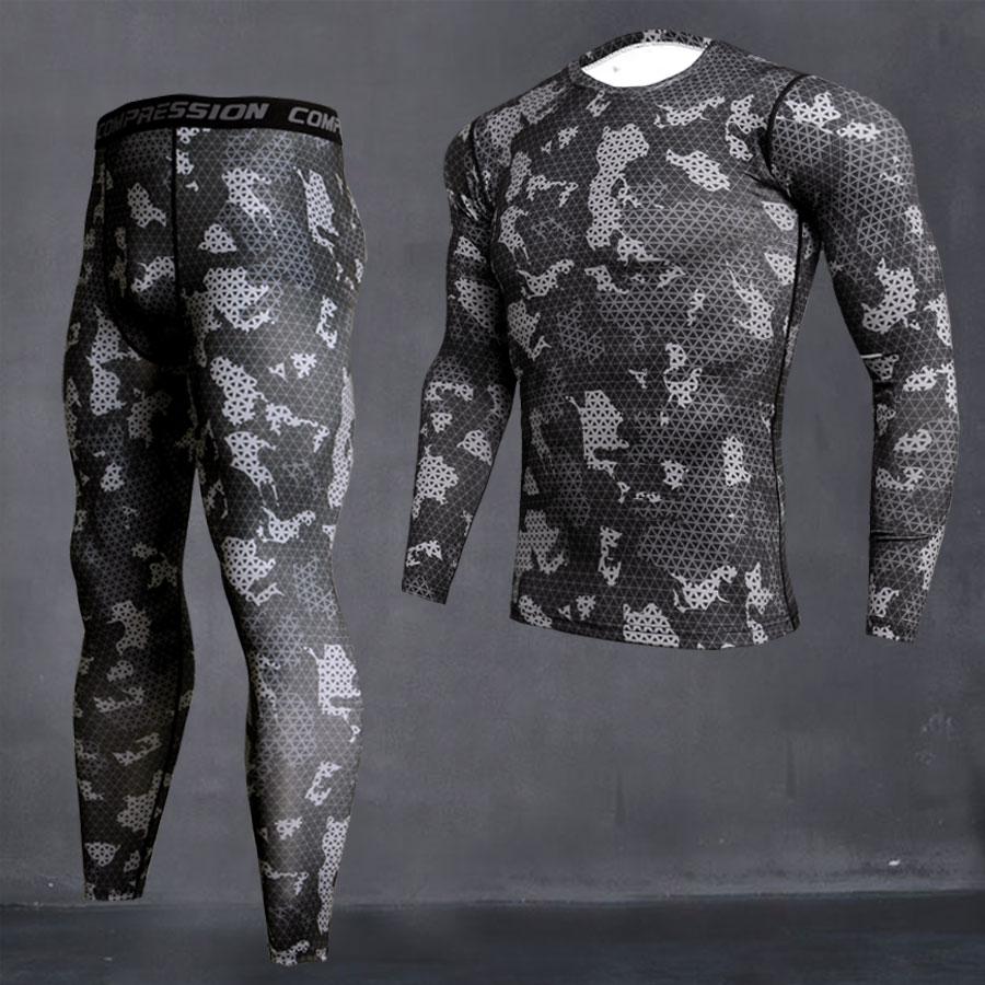 Men's Sport Running Compression Set T-shirt + Pants Skin-tight Long Sleeves Fitness Rashguard MMA Gym Training Clothes