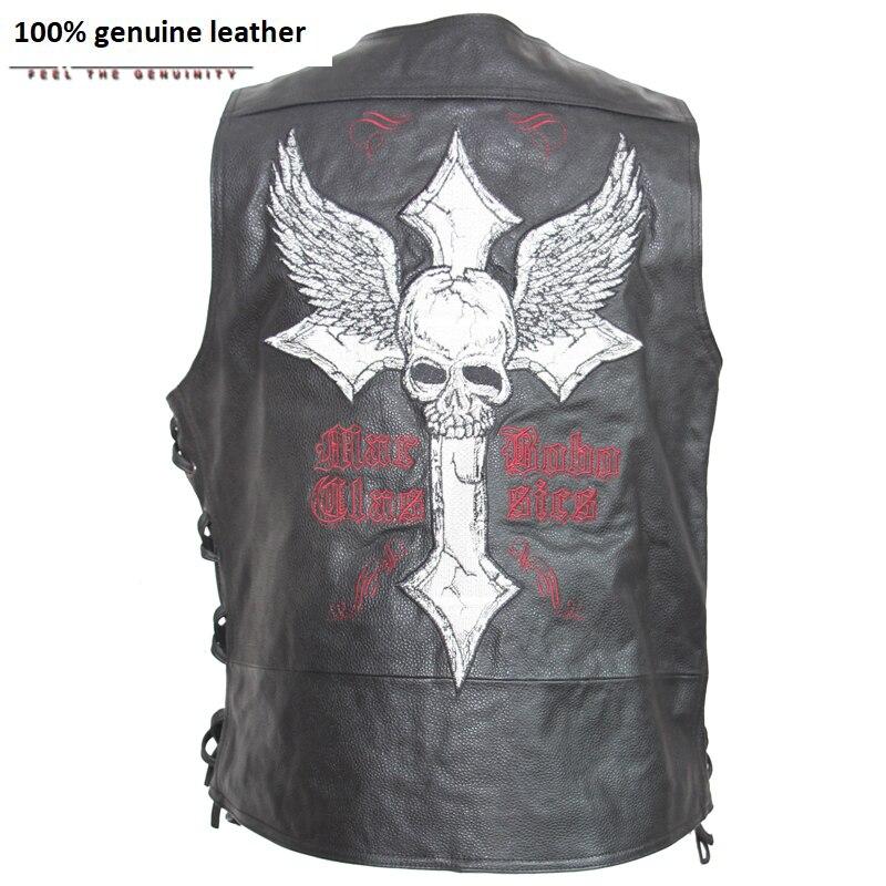 Leather Vest Motorcycle Embroidery Skull Natural Cow Skin Moto Vest Biker Waistcoat Leather Jacket Sleeveless 127