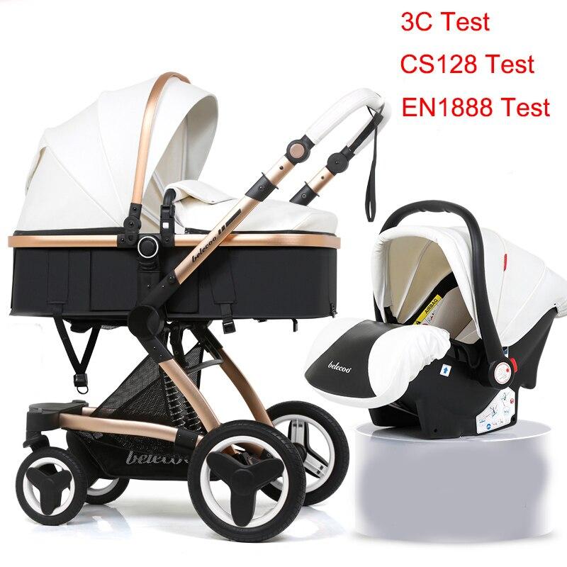 3 em 1 Belecoo Carrinho de Bebê Carrinho de Bebê Carrinho de Bebê Do Pram Do Bebê Pode Se Sentar Pode Mentir Russo EUA Transporte EuropeFree
