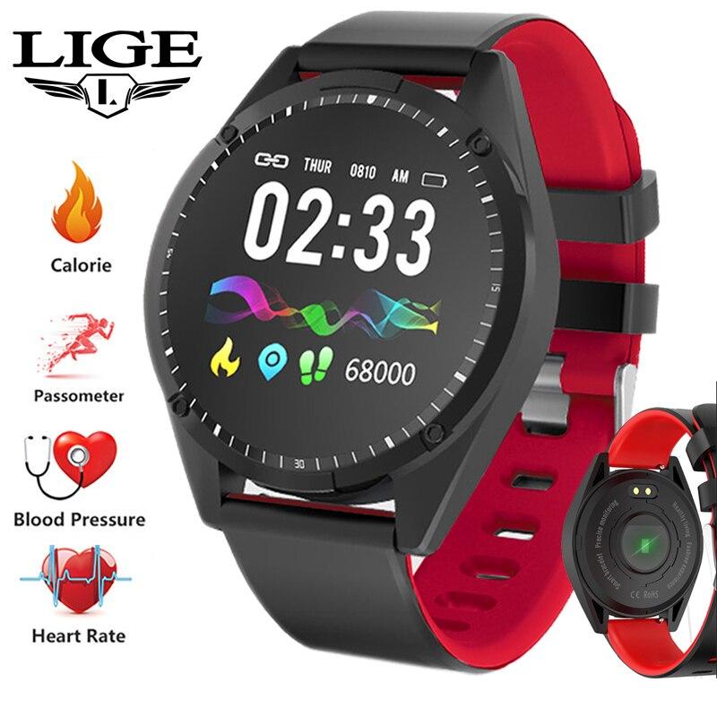 LIGE Esportes Mulheres Relógio da Frequência Cardíaca Pressão Arterial Inteligente Pulseira Pedômetro Atividade Rastreador De Fitness IP67 Inteligente À Prova D' Água Dos Homens
