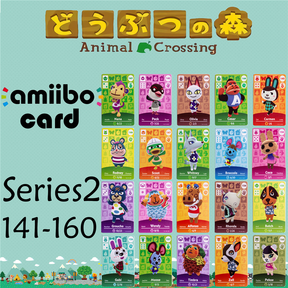 Animal Crossing Genuine data New Horizons Game Amiibo Card For NS Switch 3DS Game Set NFC Cards Series2 141-160 Matte material