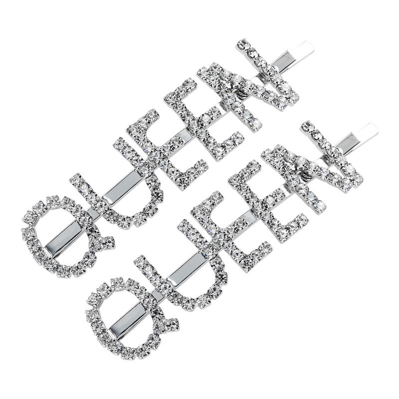 Hot Fashion 2 PCS Letter QUEEN Word Rhinestone Crystal Hairpin Hair Grip Hair Clips Hair Clip Hairpins Barrette Hair Accessories