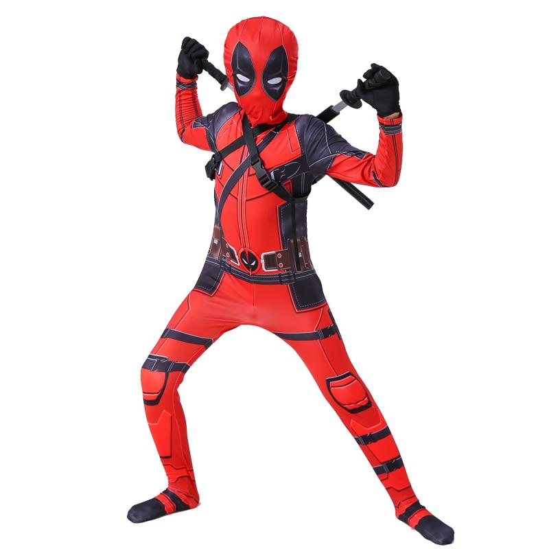 Kids Deadpool Costume With Mask Boys Deadpool Superhero Jumpsuit Bodysuit Halloween Party Costume For Boy Girls