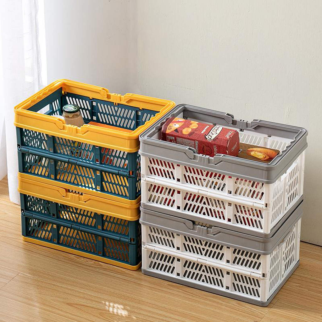 Collapsible Shopping Basket Plastic Folding Storage Crate Stackable Grocery Bin