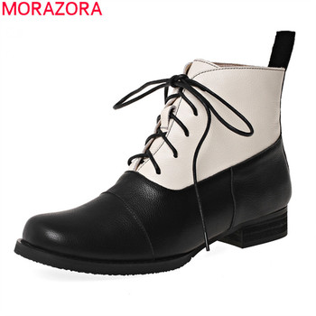 MORAZORA 2020 new hot sale comfortable genuine leather women boots low heel square toe leisure simple ankle boots