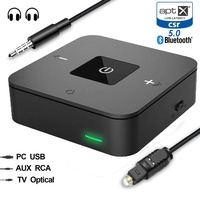 Dual Connection Bluetooth 5.0 Aptx Low Latency Aux 3.5mm RCA SPDIF Optical TV Audio Transmitter Receiver Wireless Music Adapter