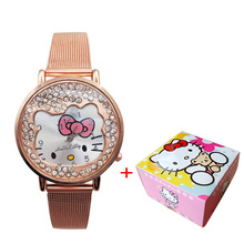 Kt cat children watch stainless steel strap diamond children watch